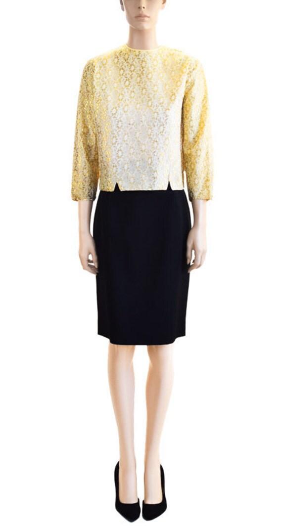 Vintage Blouse, 1950s Gold Lace Blouse, Women's Bl