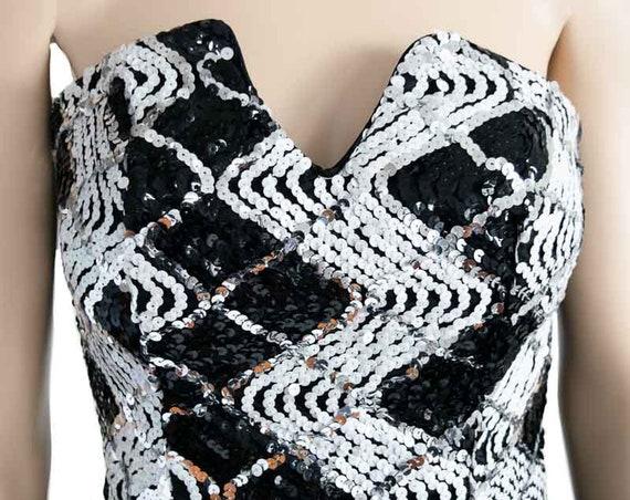 Jessica McClintock Sequin Black Bubble Dress, Vin… - image 8