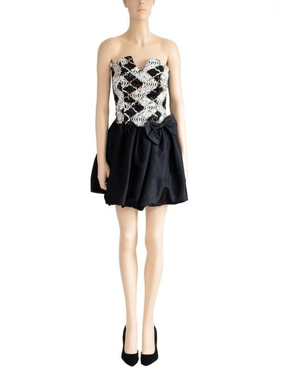 Jessica McClintock Sequin Black Bubble Dress, Vin… - image 1