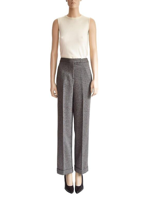 Vintage 1990s Pants 90s Larry Levine Brown Tweed P