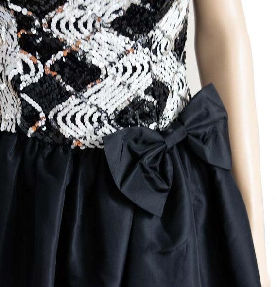 Jessica McClintock Sequin Black Bubble Dress, Vin… - image 6