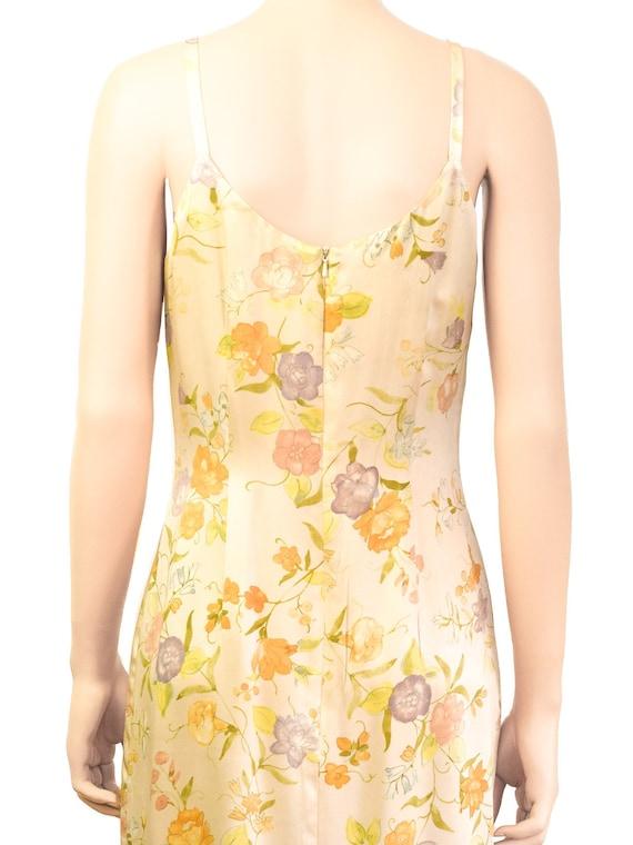 Laura Ashley Pale Yellow Silk Floral Dress, Vinta… - image 5
