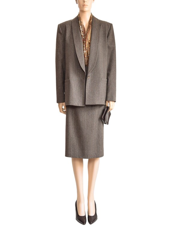 Vintage 1980s Suit, 80s Seville Brown Herringbone