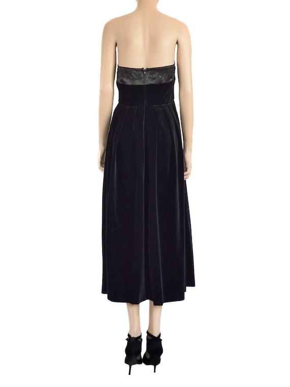 Laura Ashley Beaded Black Velvet Dress, Vintage 9… - image 2