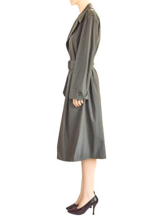 Military Olive Green Trench Coat, Vintage 80s, Si… - image 5