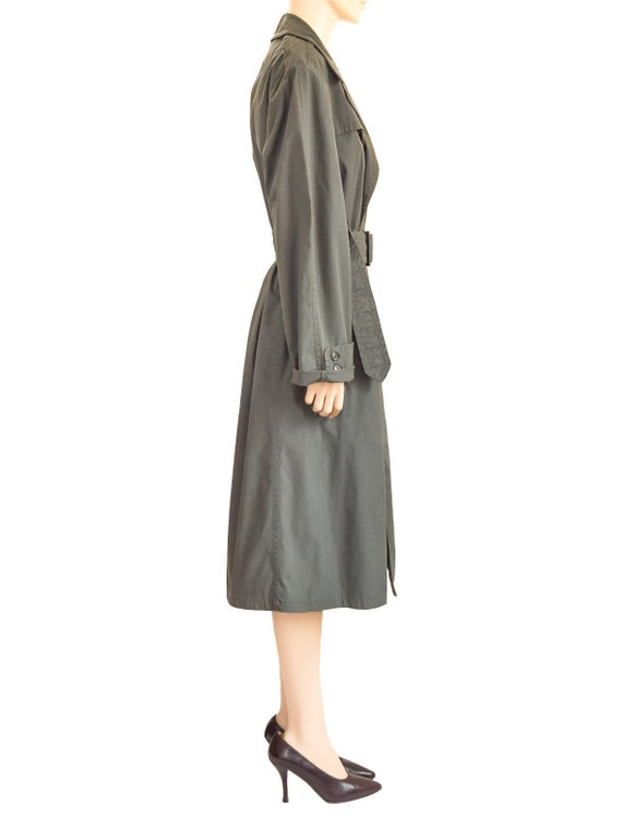 Military Olive Green Trench Coat, Vintage 80s, Si… - image 6