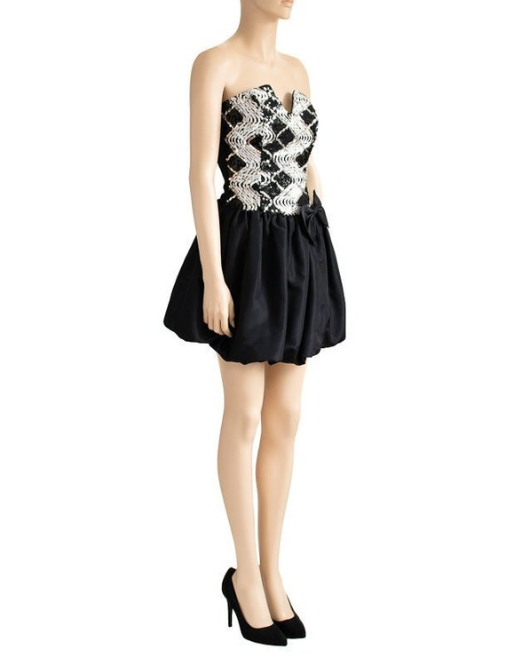 Jessica McClintock Sequin Black Bubble Dress, Vin… - image 2