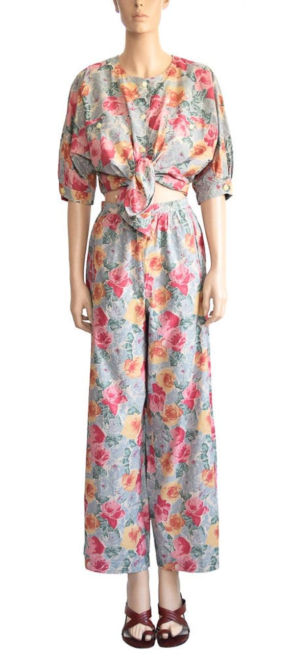 Vintage 1980s Pants, 80s Laurel Pink Floral Palazz
