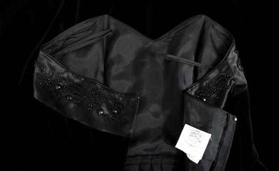 Laura Ashley Beaded Black Velvet Dress, Vintage 9… - image 5