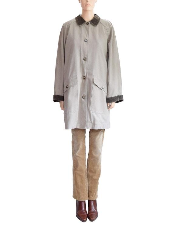 Vintage 1990s Coat 90s LL. Bean Beige Barn Coat Wo