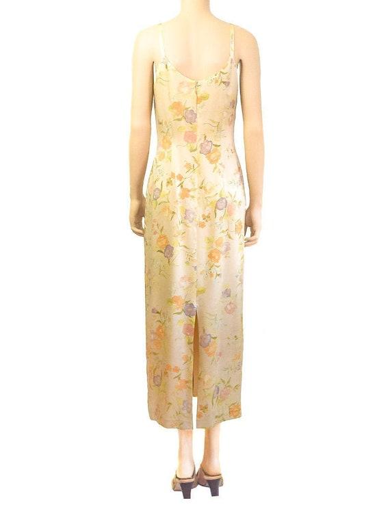 Laura Ashley Pale Yellow Silk Floral Dress, Vinta… - image 2
