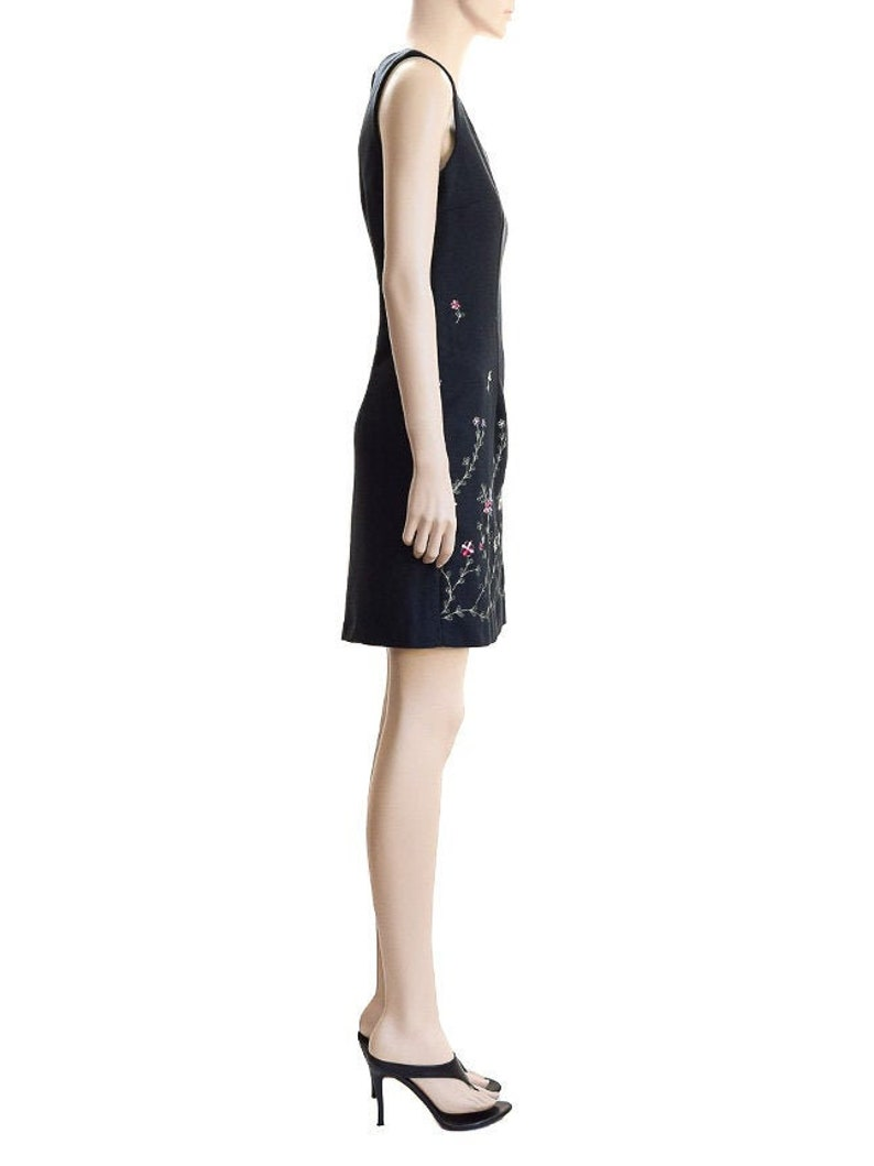 Size 6 Vintage 90s Floral Black Sheath Scarlett Dress