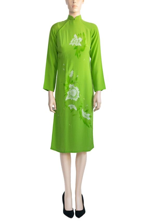 Vintage 1970s Dress 70s Lime Green Asian Floral Dr