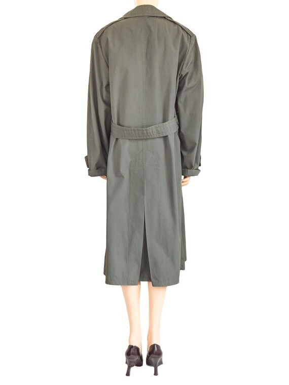 Military Olive Green Trench Coat, Vintage 80s, Si… - image 4