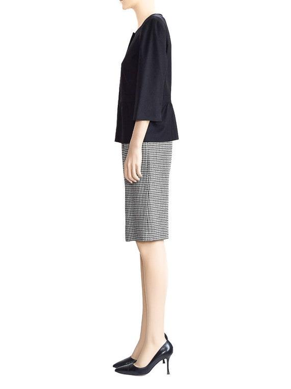 Vintage Skirt, Tahari Black Houndstooth Wool Skirt