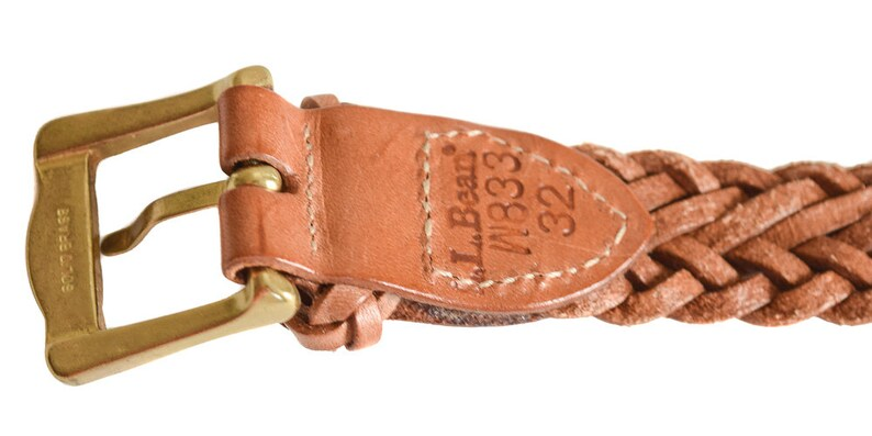f6e053bd92a Vintage Belt L.L. Bean Tan Braided Leather Belt 1980s Belt