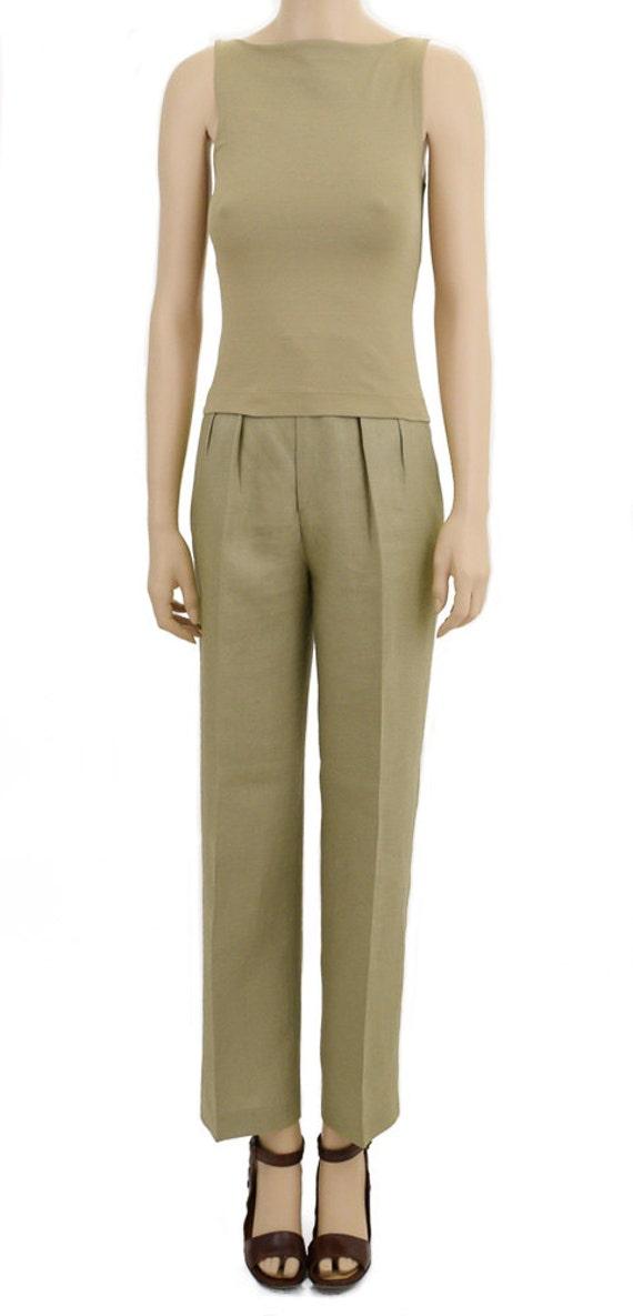 Vintage 1980s Pants, 80s Calvin Klein Green Linen