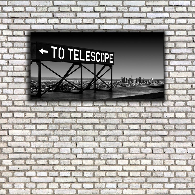 Los Angeles Skyline Canvas | Telescope Sign I Downtown Gallery Wrap |  Panoramic | Wall Art | Black and White | Urban Landscape