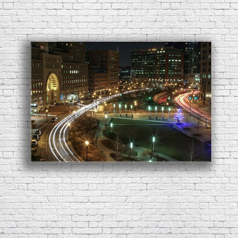 Boston Traffic Canvas | Downtown Boston | Boston MA | City Lights | Gallery  Wrap