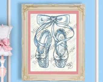 Cinderella Ballet Slipper Poster Print - Pointe Shoe Print - Original Artwork - Princess Ballet Shoe - Dance Poster - Girls Decor - Nursery
