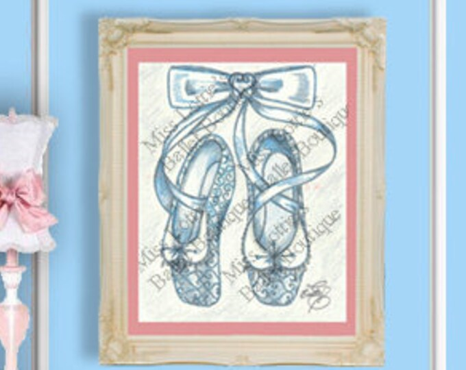 Cinderella Ballet Slipper Poster Print - Pointe Shoe Print - Original Artwork - Princess Ballet Shoe - Dance Poster - Girls Decor - Nursery