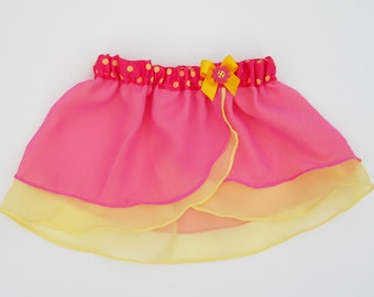 Lottie-da - Girls Pink Yellow Ballet Skirt - Dancewear - Ice Skating - Toddlers Ballet Skirt - Childs Ballet Skirt - Faux Wrap Skirt - Tutu