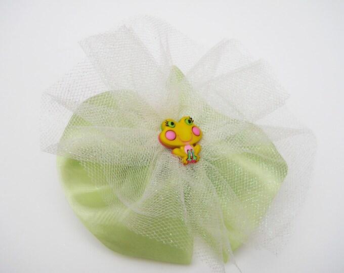 Green Princess Hair Bow - Glitter Tutu Hair Bow - Frog Hair Bow - Girls Hair Bow - Toddler HairBow - Boutique Hair Bow - Hair Accessory
