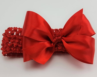 Snow White Princess Headband - Red Ribbon Hair Bow - Holiday Headband - Soft  Headband - Infant Headband - Toddler Headband - Hair Accessory