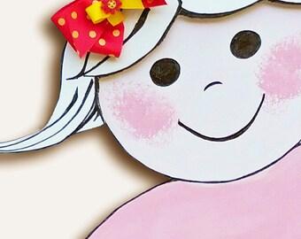 Lottie-da - Polka Dot Hair Bow - Pink and Yellow Hair Bow - Girls Hair Bow - Toddler Hair Bow - Daisy - Boutique Hair Bow - Hair Accessory