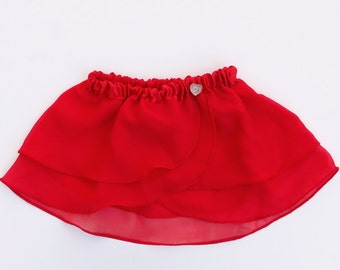 Girls Red Heart Ballet Skirt - Dancewear - Girls Ballet Skirt - Toddlers Ballet Skirt - Childs Ballet Skirt - Faux Wrap Skirt - Tutu