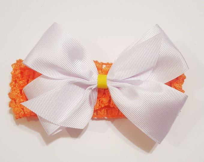 Candy Corn Headband - Ribbon Hair Bow - Fall Harvest - Soft  Headband - Halloween - Infant Headband - Toddler Headband - Hair Accessory