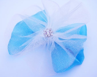 Ice Blue Princess Hair Bow - Snow Queen - Glitter Tutu Hair Bow - Girls Hair Bow - Toddler Hair Bow - Boutique Hair Bow - Hair Accessory