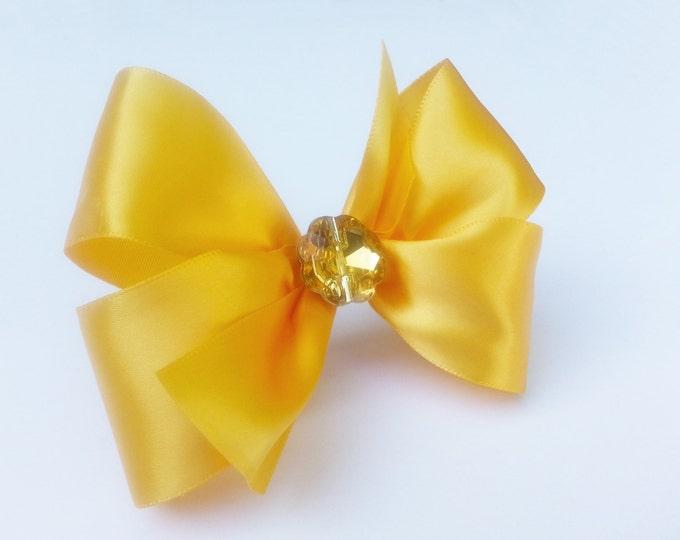 Yellow Beauty Hair Bow - Girls Hair Bow - Toddler Hair Bow - Satin Ribbon HairBow - Boutique Hair Bow - Hair Accessory - Hair Clip