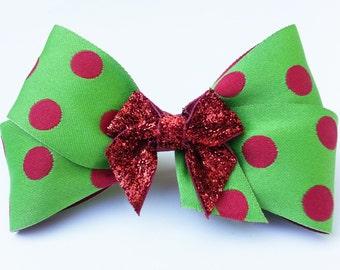 Whimsical Christmas Red Polka Dot Hair Bow - Holiday Hair Bow - Girls Hair Bow - Toddler Hair Bow - Hair Accessory - Stocking Stuffer