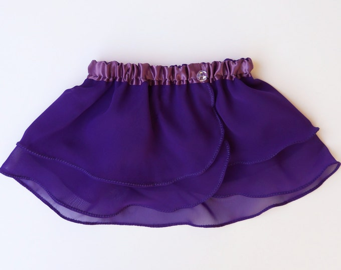 Girls 7-8 Amethyst Purple Ballet Skirt - Dancewear - Girls Ballet Skirt - Ballet Skirt - Childs Ballet Skirt - Faux Wrap Skirt - Tutu