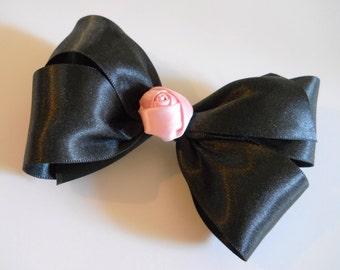 Black Hair Bow - Satin Hair Bow - Girls Hair Bow - Toddler Hair Bow - Pink Rosette - Hair Accessory - Black Hairclip - Classic Ballet