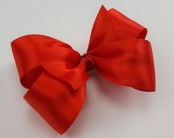 Snow White Princess Hair Bow - Girls Hair Bow - Toddler Hair Bow - Satin Ribbon Hair Bow - Hair Accessory - Hair Clip - Red HairBow -Holiday