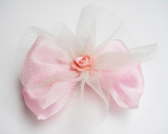 Light Pink Princess Hair Bow - Glitter Tutu Hair Bow  - Girls Hair Bow - Toddler Hair Bow - Boutique Hair Bow - Hair Accessory