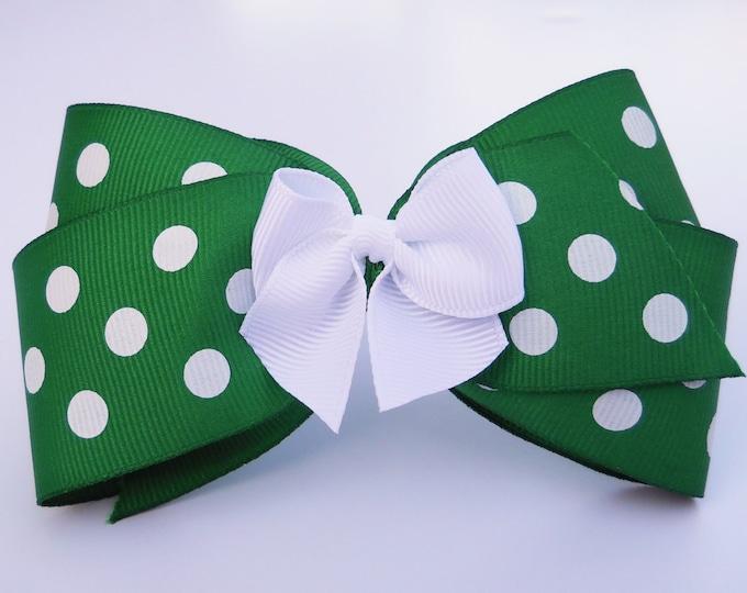 Merry Christmas Green Polka Dot Hair Bow - Holiday Hair Bow - Girls Hair Bow - Toddler Hair Bow - Hair Accessory - Stocking Stuffer - Gift