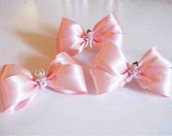Tiny Dancer - Pink Ballerina Hair Bow - Girls Hair Bow - Toddler Hair Bow - Satin Ribbon HairBow - Hair Accessory - Hair Clip - Shiny Bow