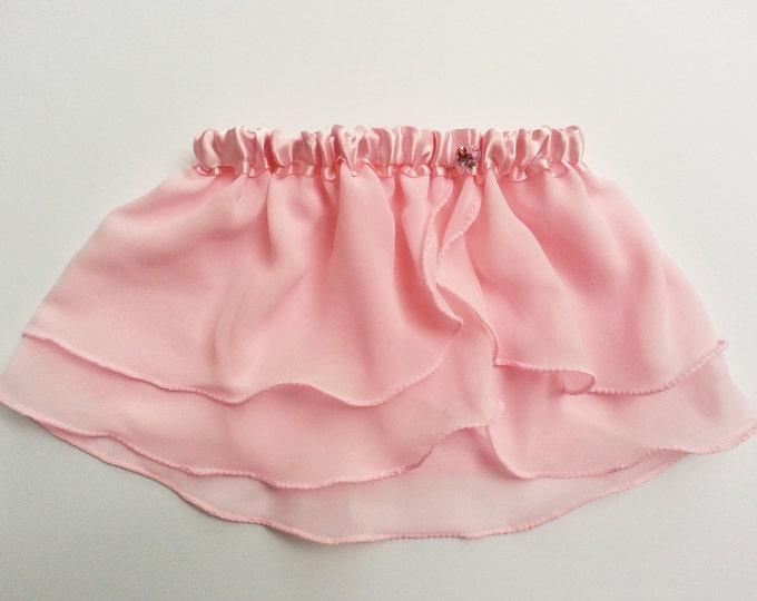 Girls Light Pink Heart Ballet Skirt - Dancewear - Ice Skating Skirt - Toddlers Ballet Skirt - Childs Ballet Skirt - Faux Wrap Skirt - Tutu