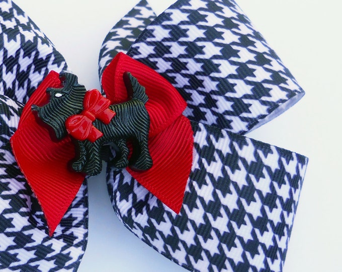 Scotty Dog Houndstooth Hair Bow - Black White Red Hair Bow - Girls Hair Bow - Toddler Hair Bow - Boutique Hair Bow - Hair Accessory