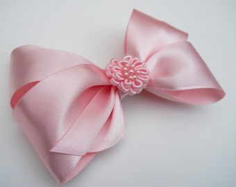 Pink Rosette Hair Bow - Girls Hair Bow - Toddler Hair Bow - Satin Ribbon HairBow - Boutique Hair Bow - Hair Accessory - Hair Clip - Pink Bow
