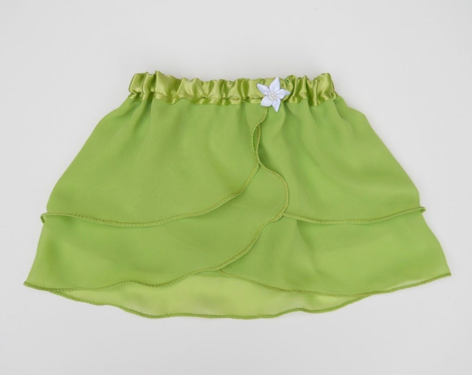 4T-5T Girls Green Princess Ballet Skirt - Ballet Skirt - Childs Ballet Skirt - Toddler Ballet Skirt - Faux Wrap Skirt - Pull On Skirt - Tutu