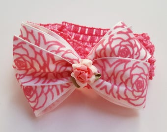 White Rose Headband - Wedding - Ribbon Bow - Soft  Headband - Infant Headband - Toddler Headband - Pink and White HairBow - Hair Accessory