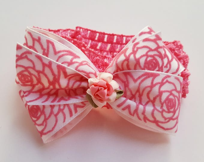 White Rose Headband - Wedding - Ribbon Bow - Soft  Headband - Infant Headband - Toddler Headband - Pink and White HairBow - Hair Accessory