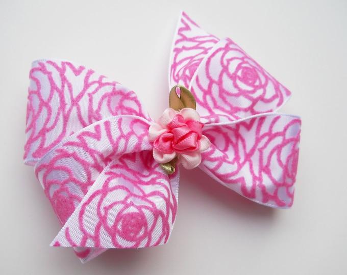 White Rose Hair Bow - Wedding - Girls Hair Bow - Toddler Hair Bow - Boutique Hair Bow - Hair Accessory - Hair Clip - Pink Rose Bow