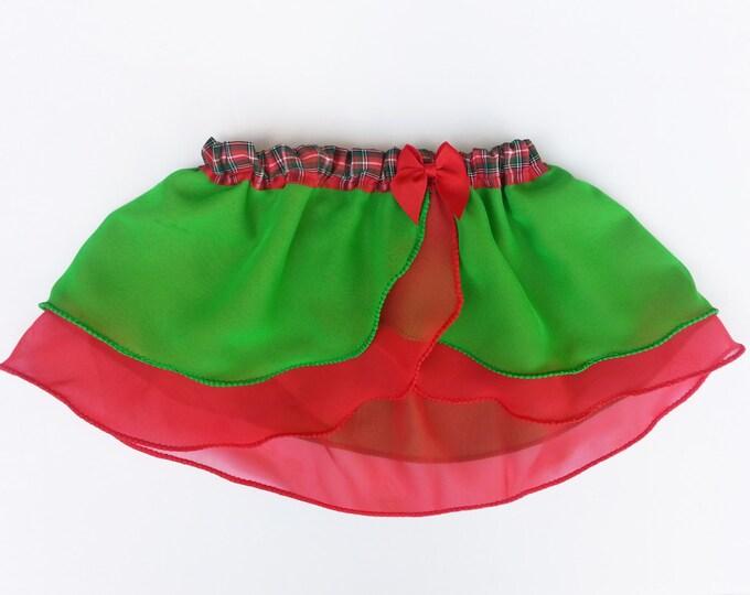 Little Girls 5-6 Christmas Plaid Ballet Skirt - Green Red Ballet Skirt - Toddler Ballet Skirt - Child Skirt - Faux Wrap Skirt - Holiday Tutu