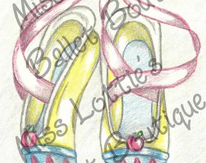 Snow White Ballet Slipper Poster Print - Pointe Shoe Print - Original Artwork - Princess Ballet Shoe - Dance Poster - Girls Decor