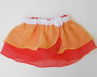 Girls Candy Corn Ballet Skirt - Girl Ballet Skirt - Toddlers Ballet Skirt - Child Ballet Skirt - Autumn - Halloween - Faux Wrap Skirt - Tutu